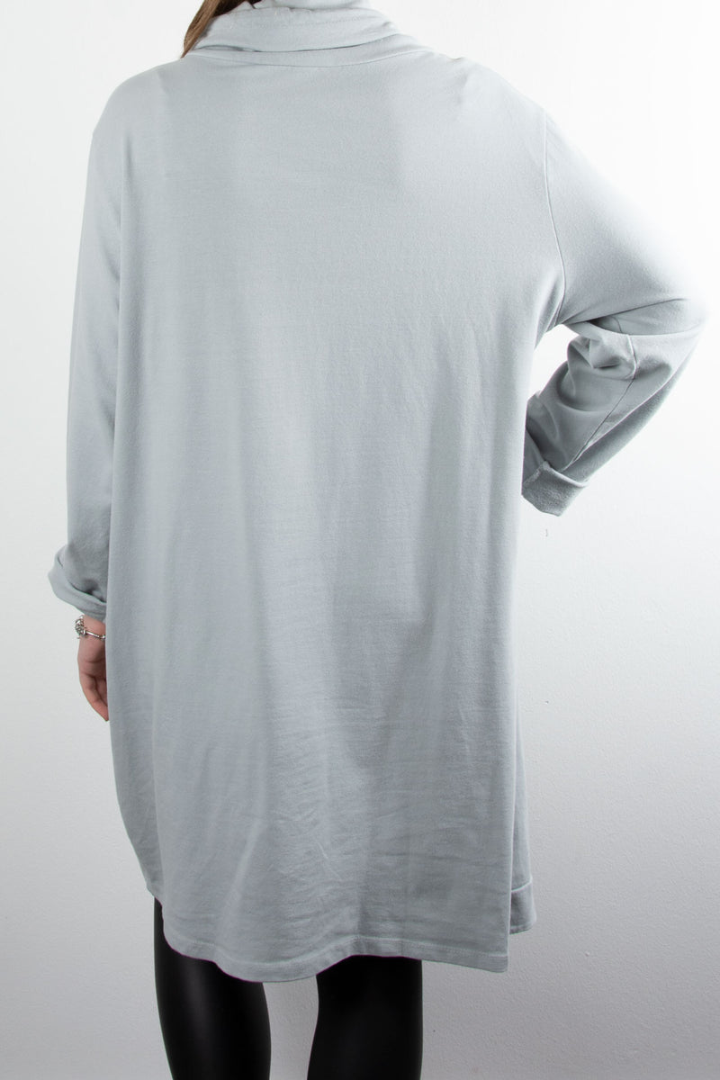 Cowl Button Tunic | Light Grey