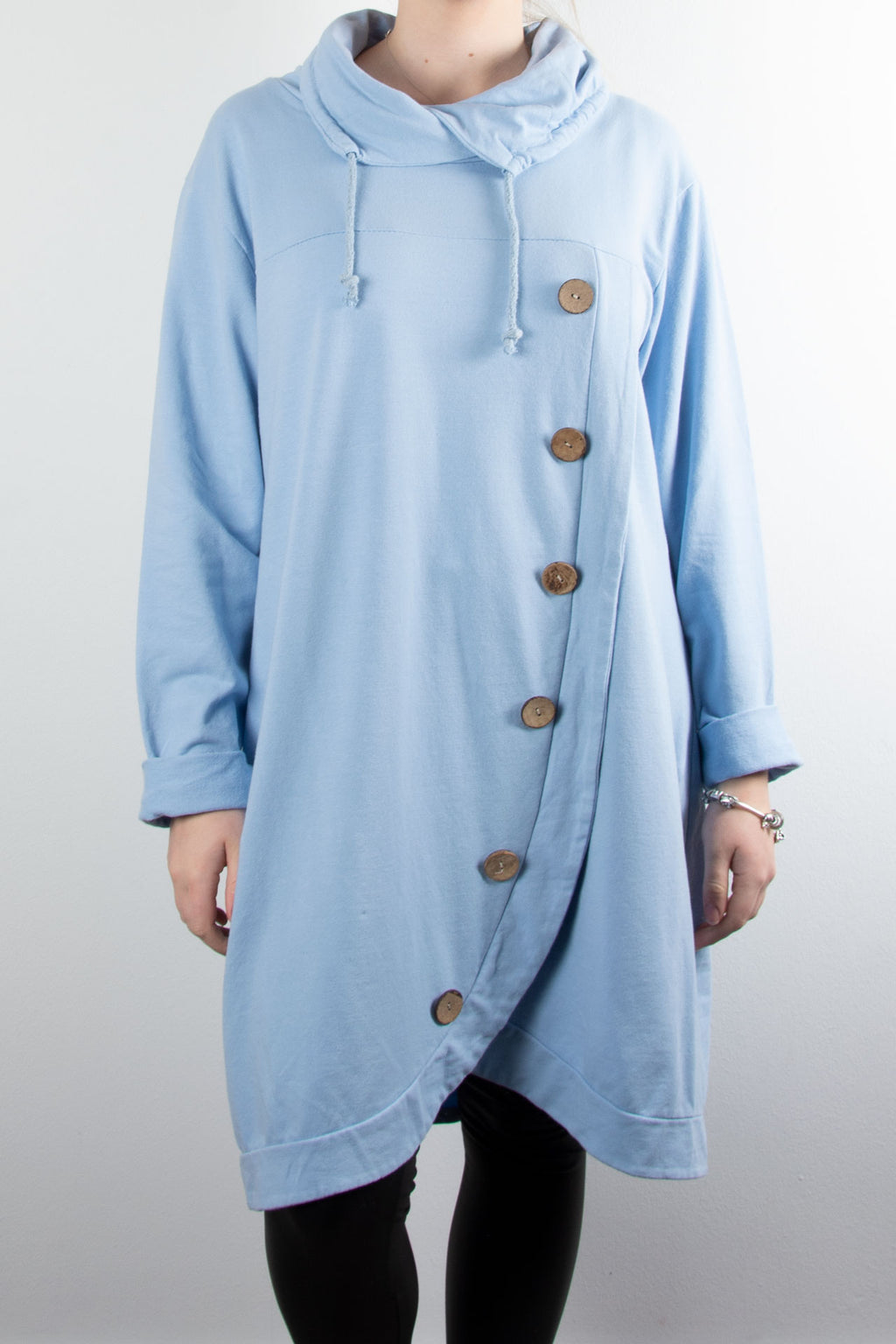 Cowl Button Tunic | Sky Blue