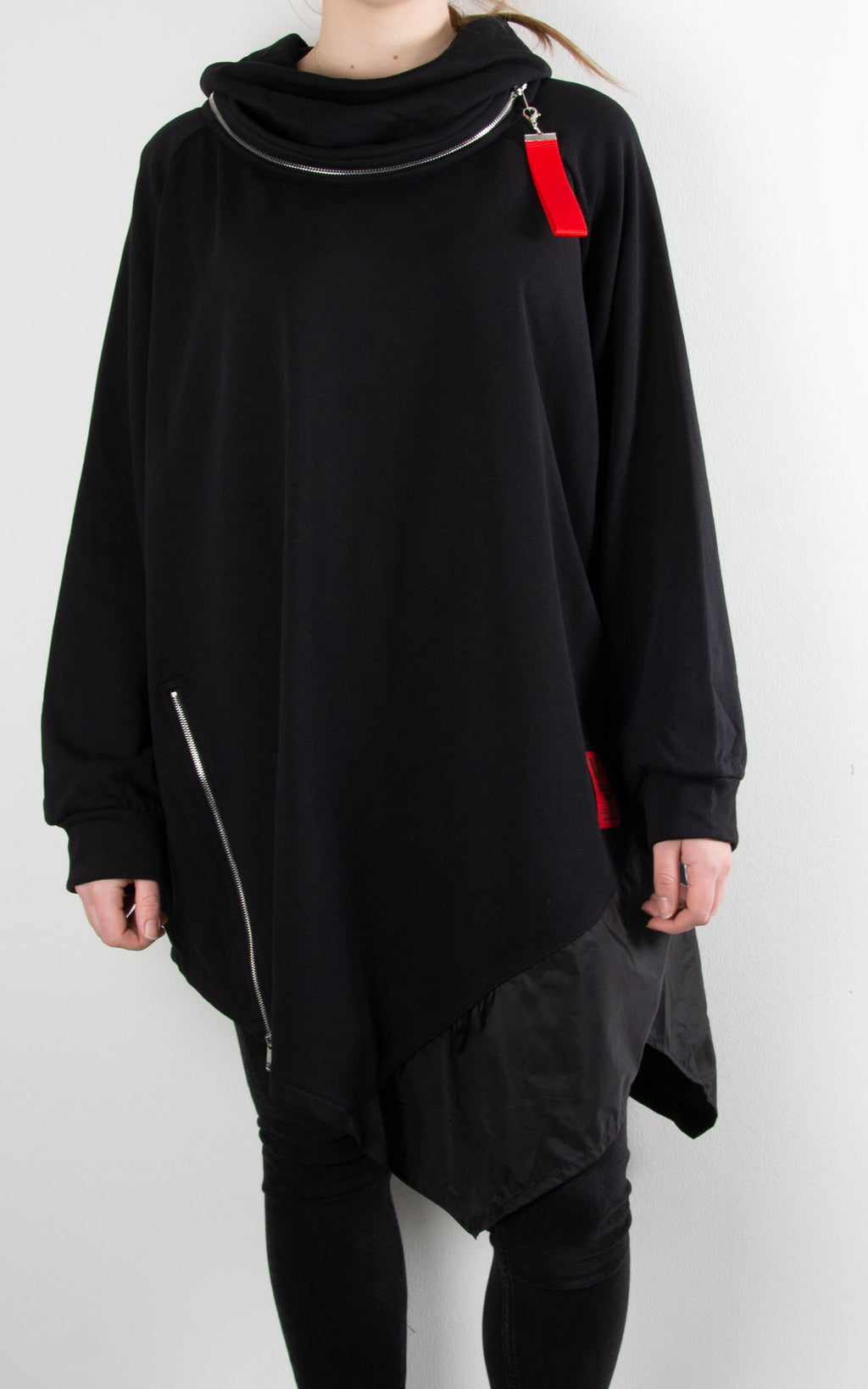 Cowl Zip Tunic | Black
