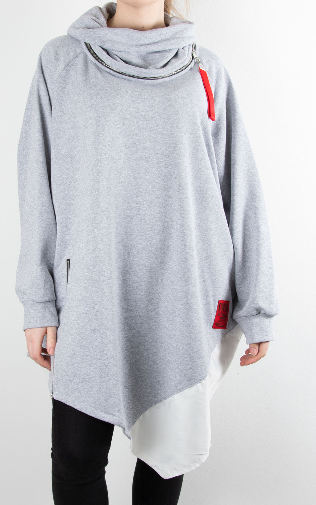Cowl Zip Tunic | Grey