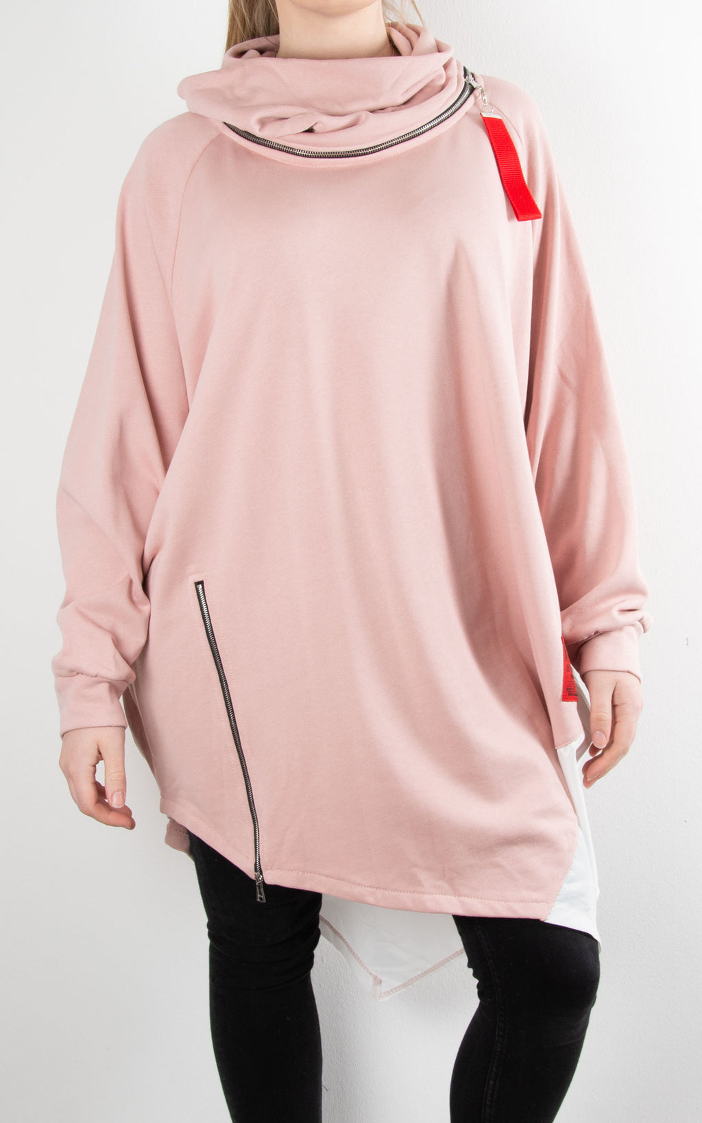 Cowl Zip Tunic | Pink