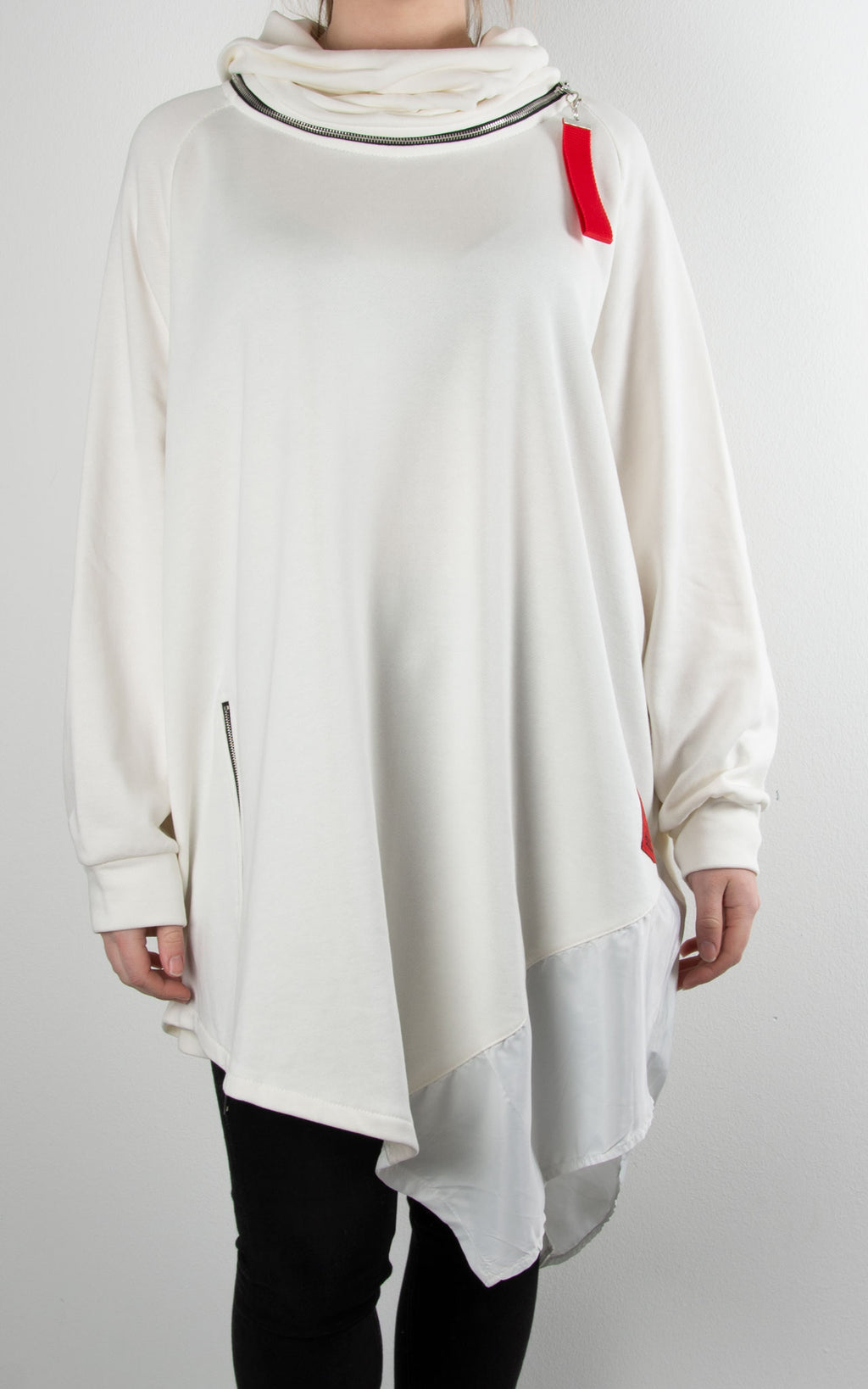 Cowl Zip Tunic | Winter White
