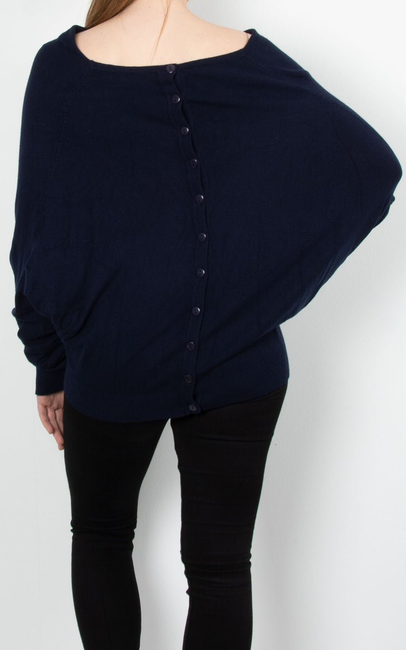 Cowl Neck Button Knit | Navy