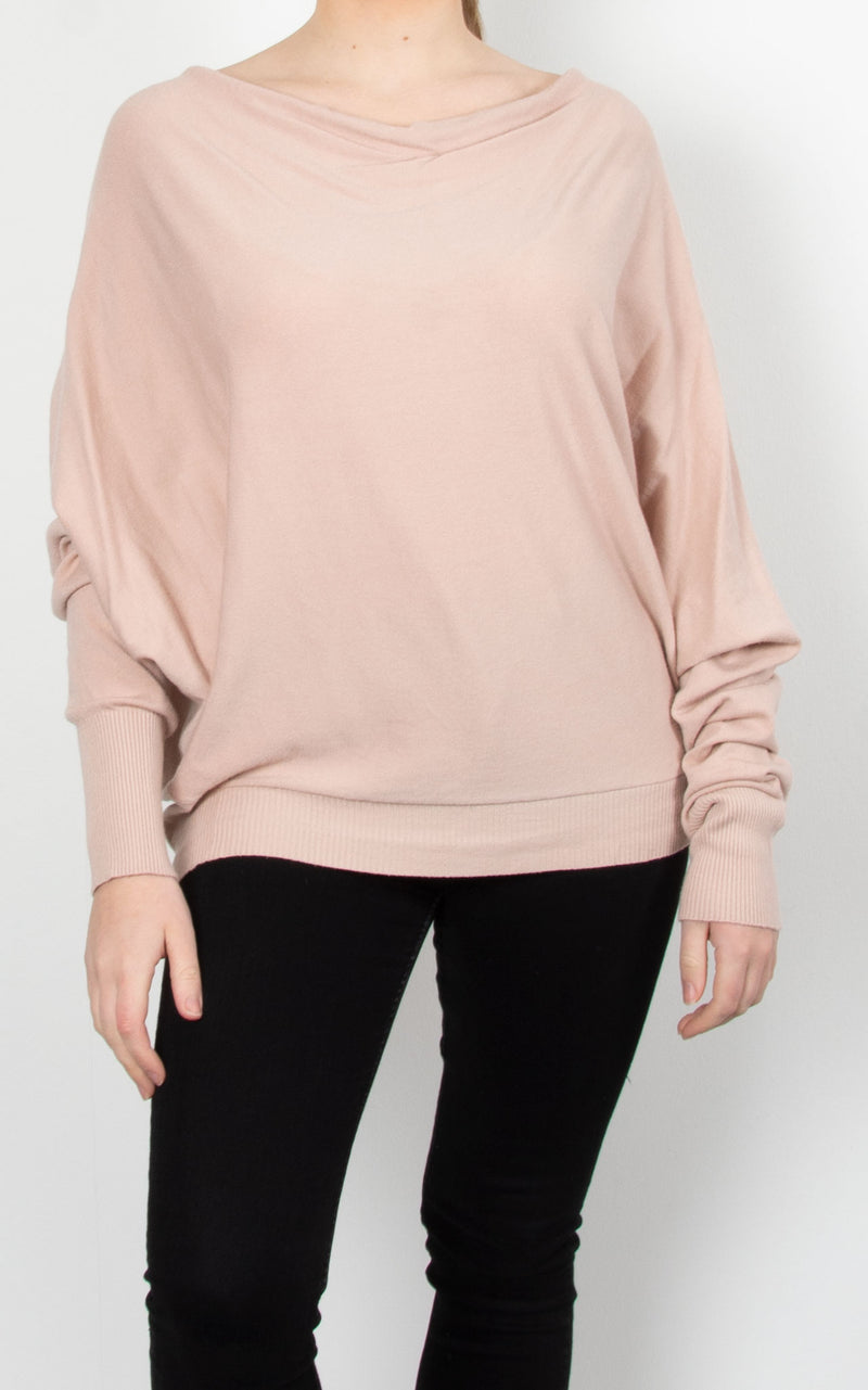 Cowl Neck Button Knit | Nude Pink