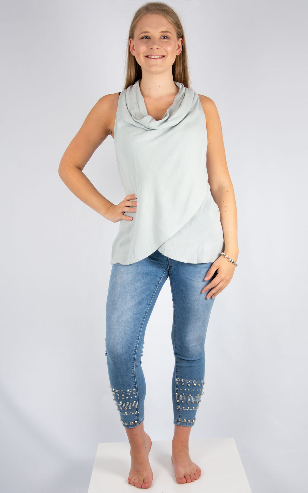 Light Grey Cowl Neck Vest | Made in Italy