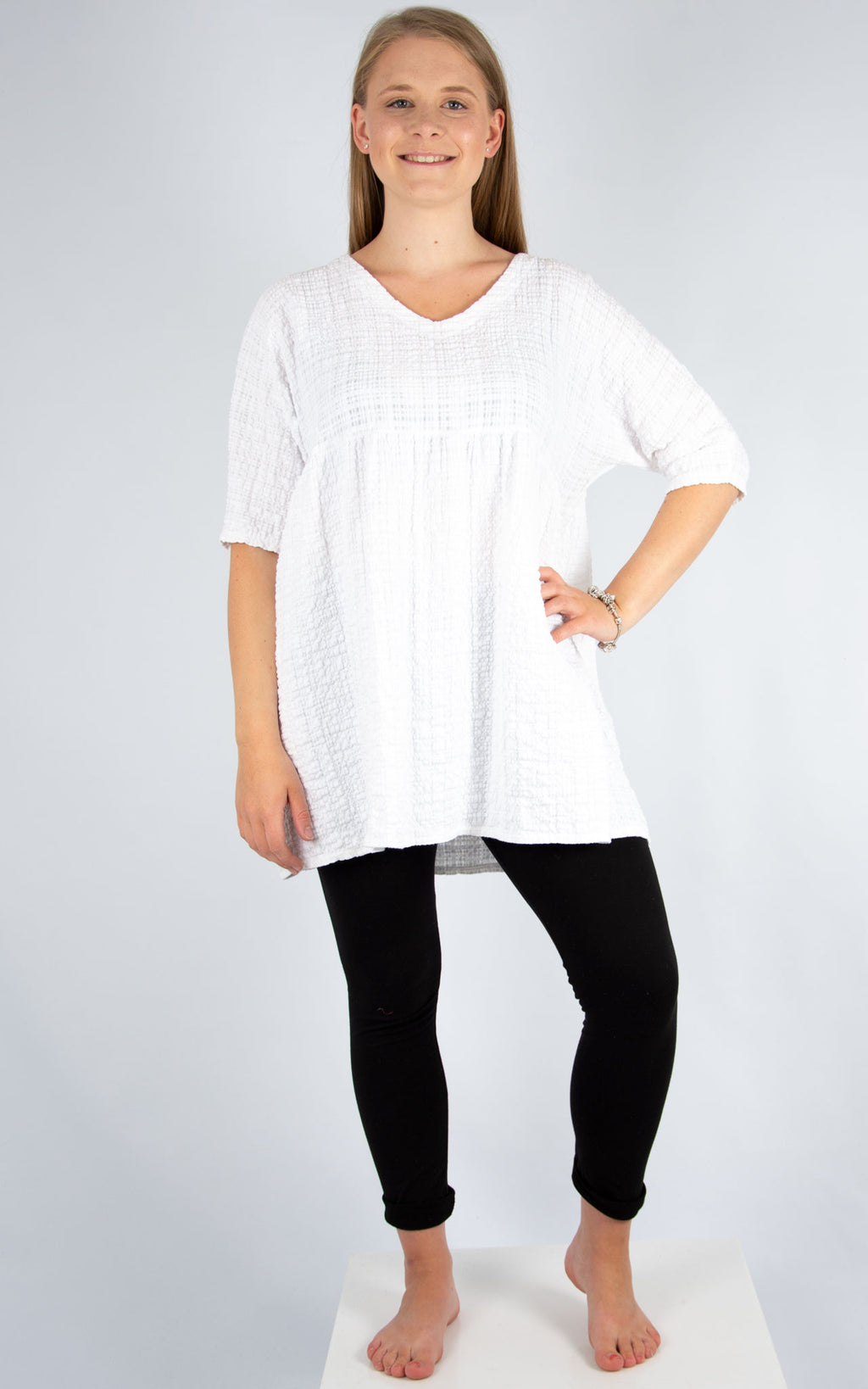 White Crimple Tunic | Made in Italy