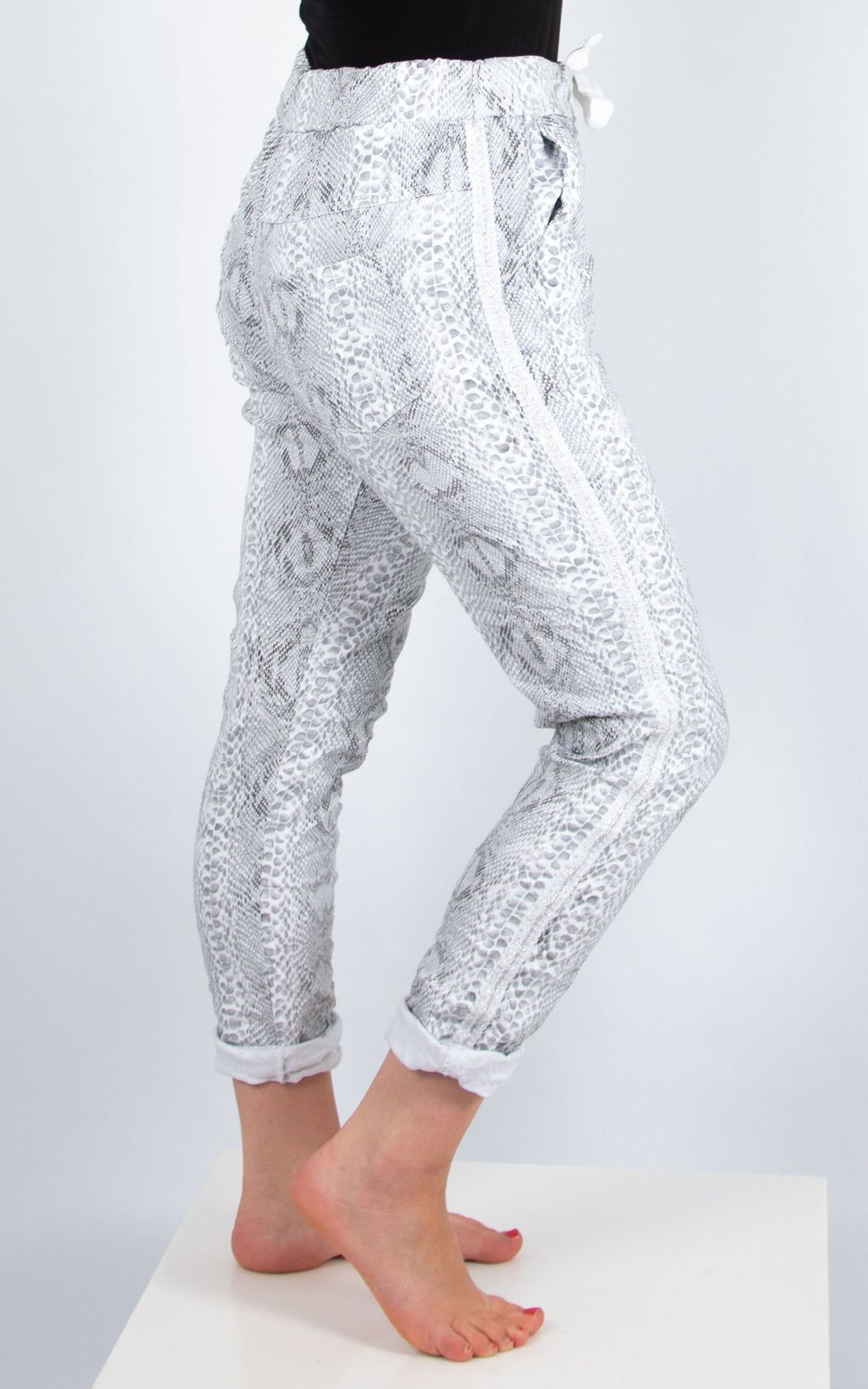 Crinkle Animal Print Jogger| White | Made In Italy