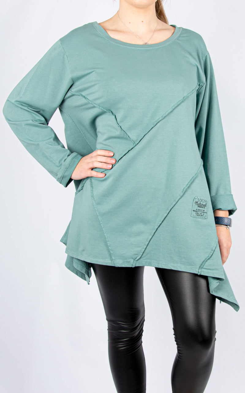 Criss Cross Panel Sweat | Sea Green