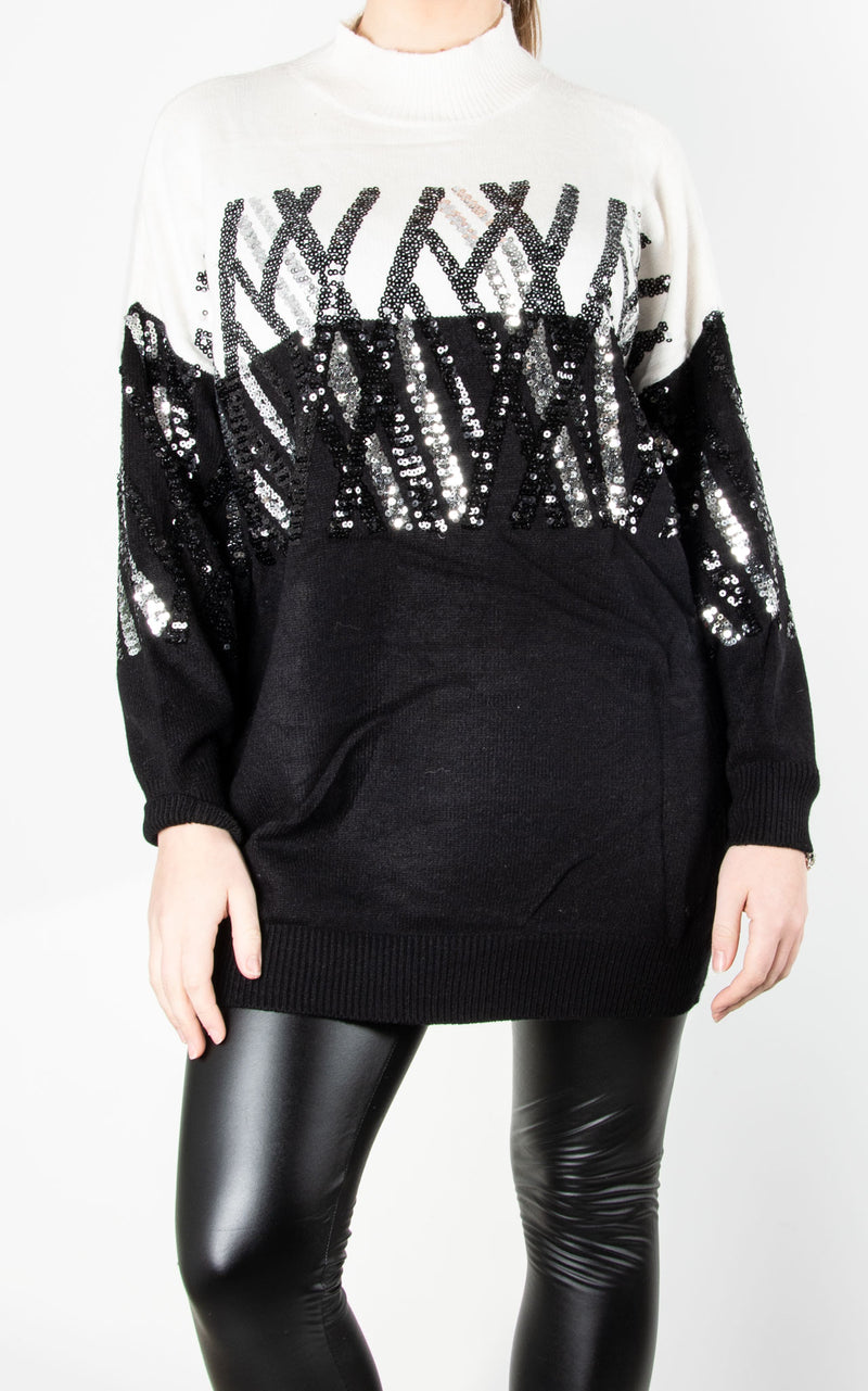 Criss Cross Sequin Knit | Cream / Black