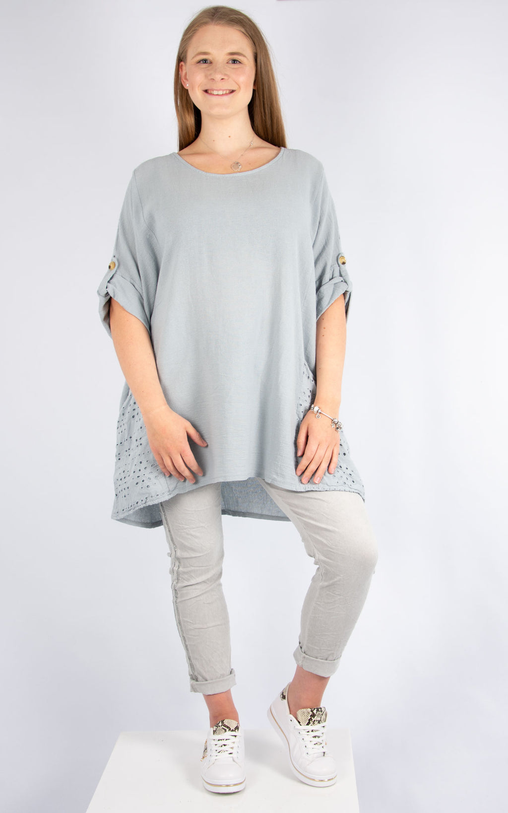 Grey Floral Cut Back Top | Made in Italy