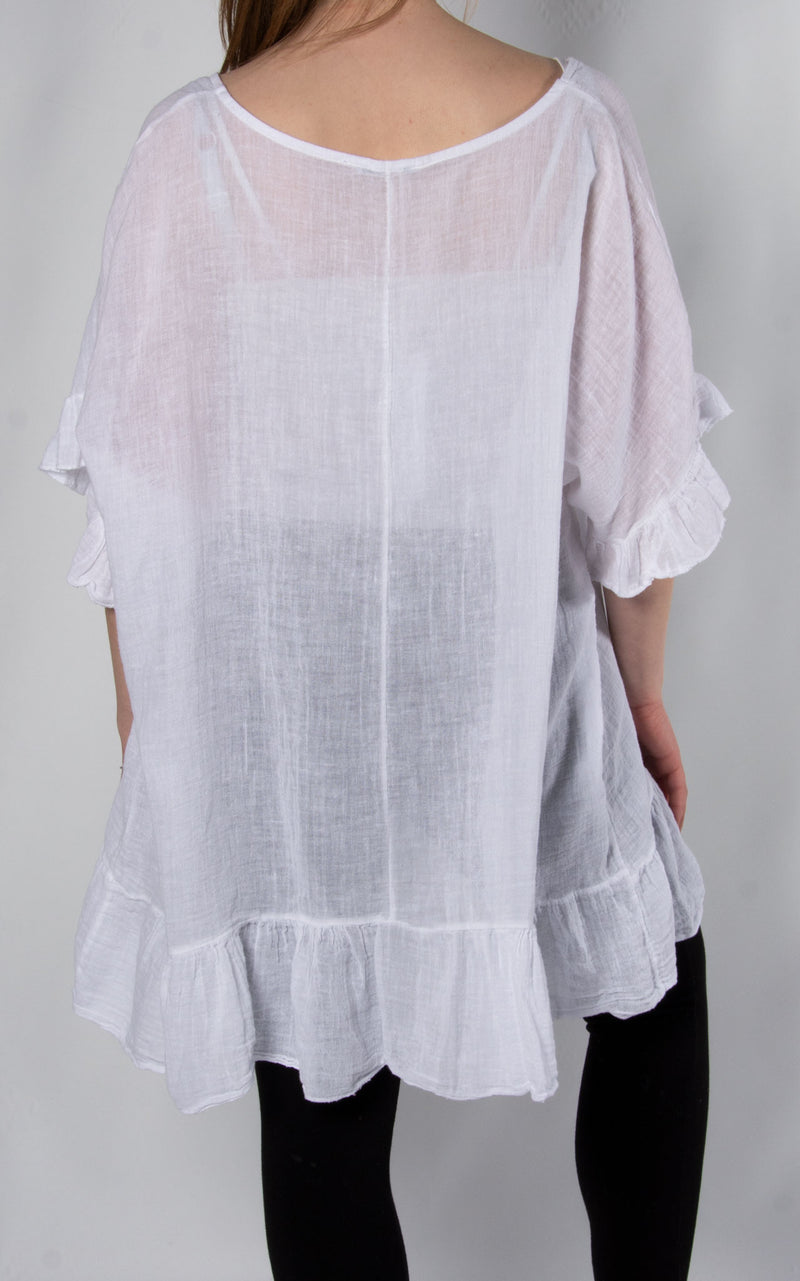 Linen Frill Top | White