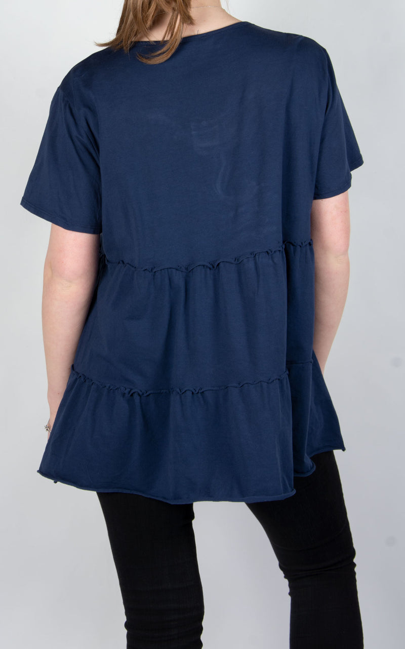 Tiered Capped Sleeve T | Navy