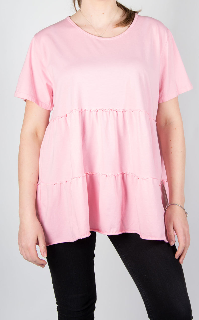 Tiered Capped Sleeve T | Pink
