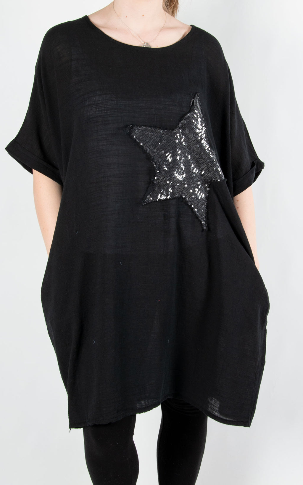 Sequin Star Patch Tunic | Black