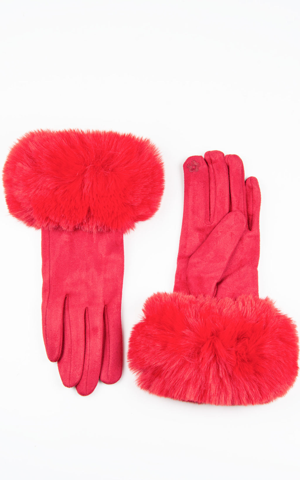 Faux Fur Gloves | Red