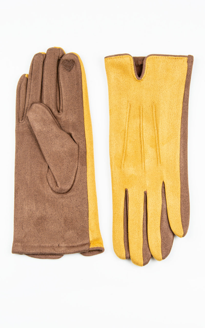 Gloves: Two Tone| Mustard\Brown