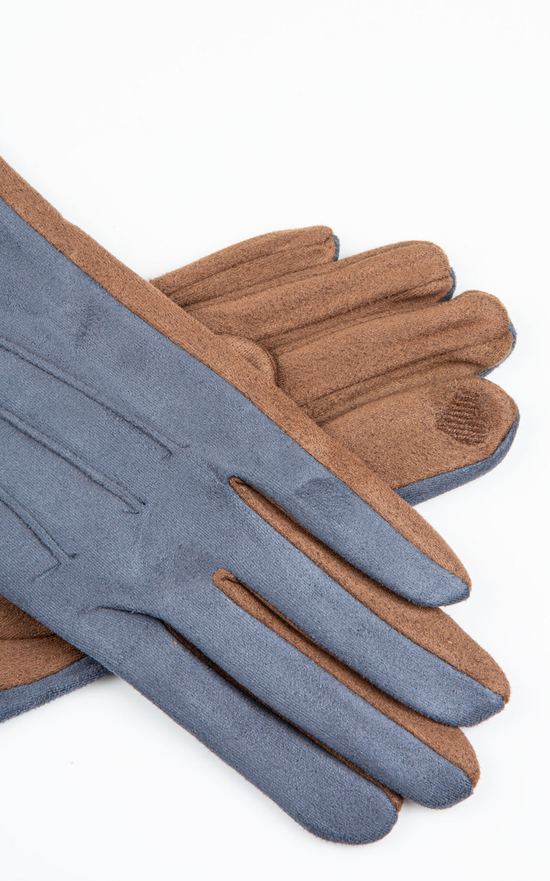Gloves: Two Tone|Denim\Brown