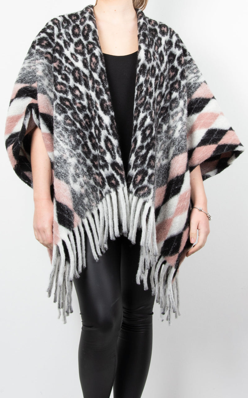 Diamond & Leopard Cape | Pink
