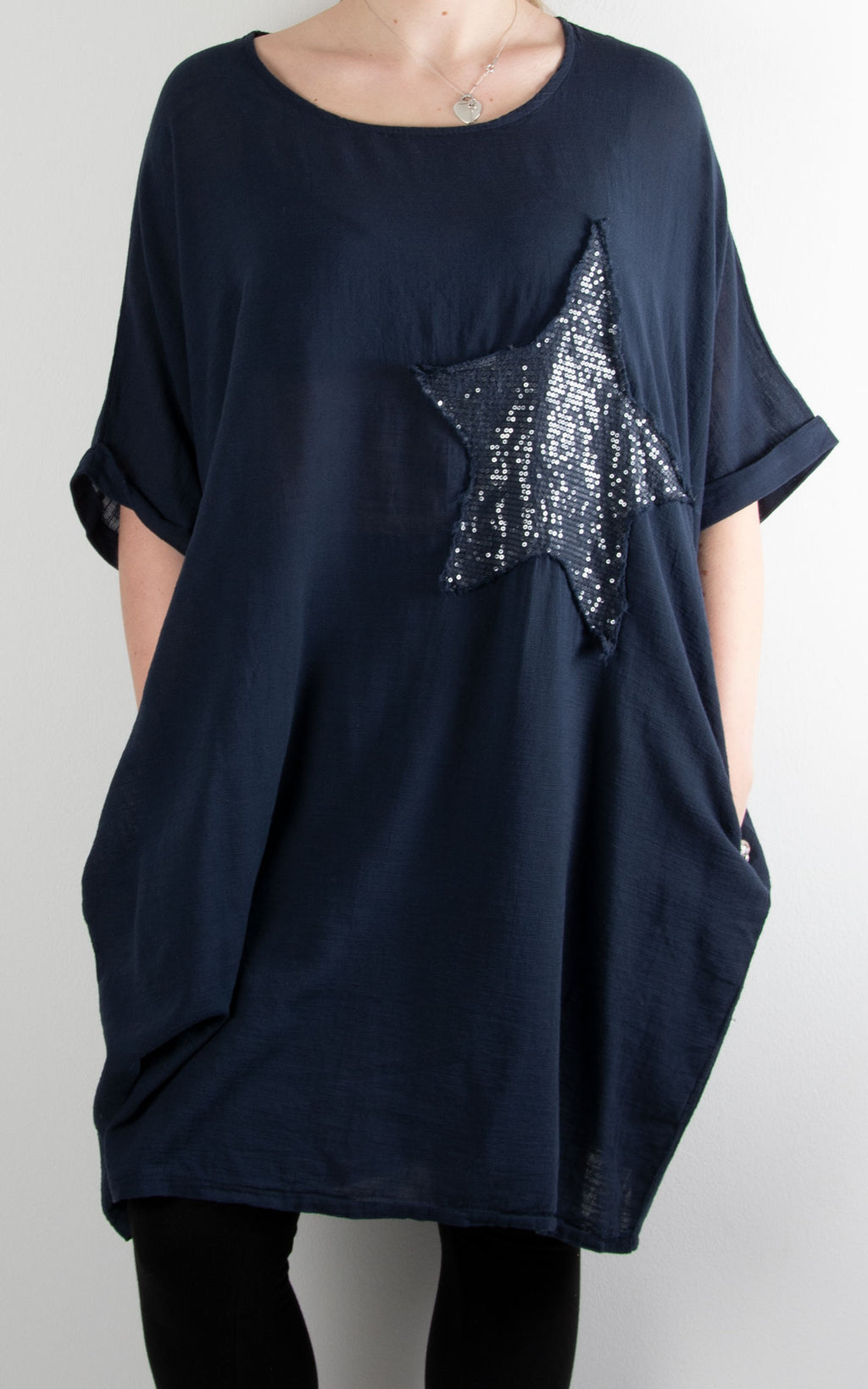 Sequin Star Patch Tunic | Navy
