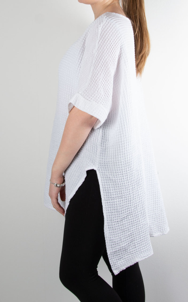 Ivy Waffle Split Top | White