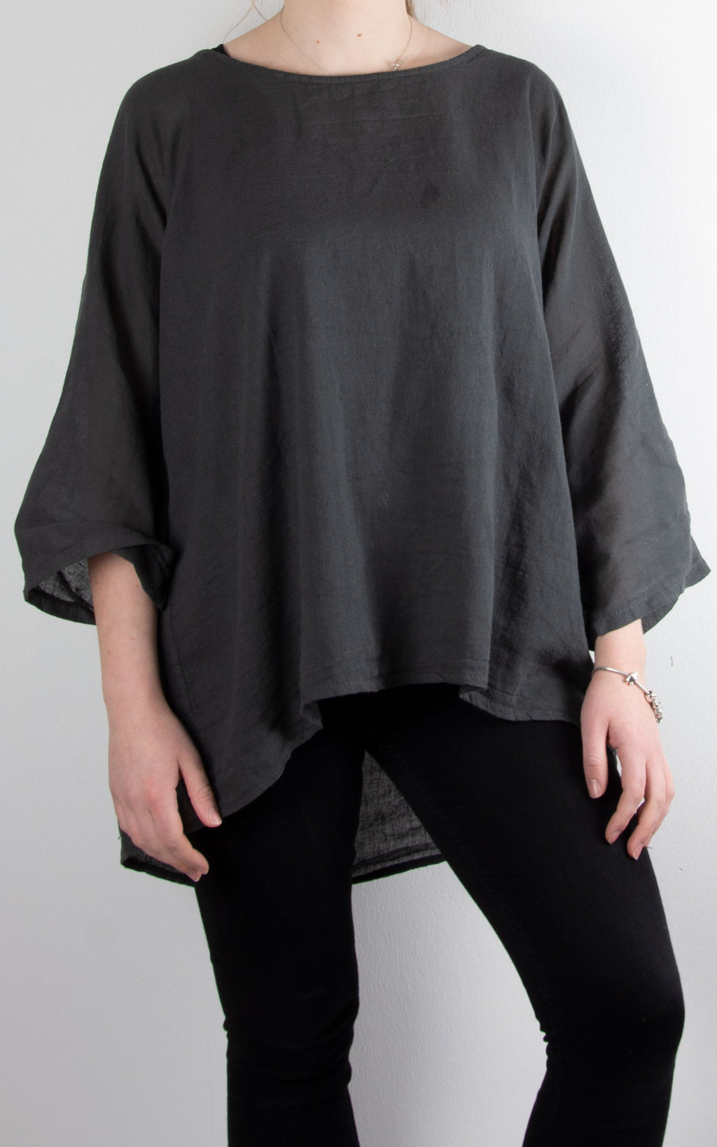 Polly Linen Mix T | Charcoal