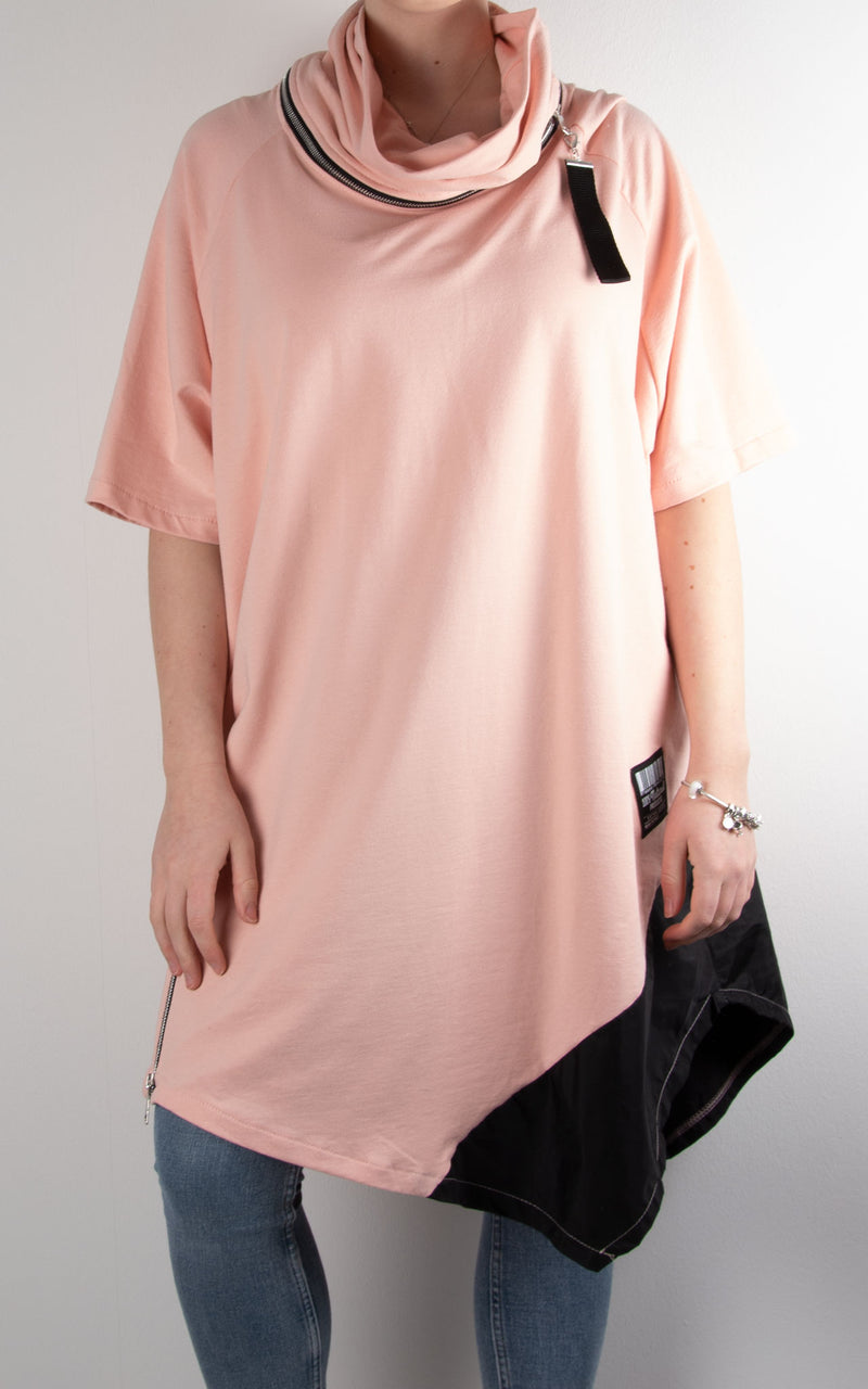 Cowl Zip Tunic | Pink/Black