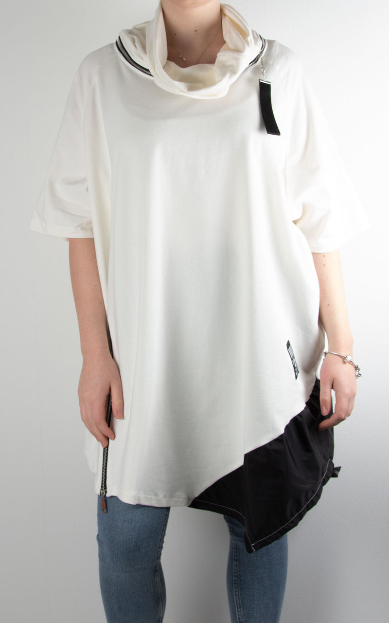 Cowl Zip Tunic | White/Black
