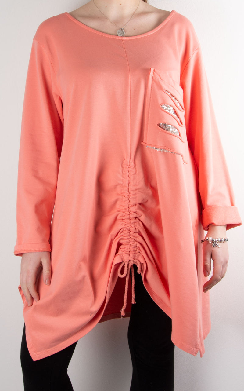 Rouched Front Sequin Pocket | Coral