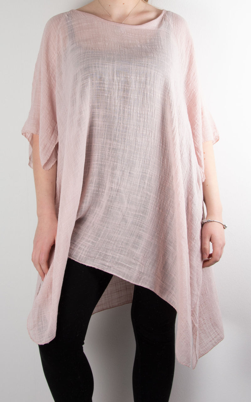 Mel Cheesecloth Fan Sleeve T | Pink