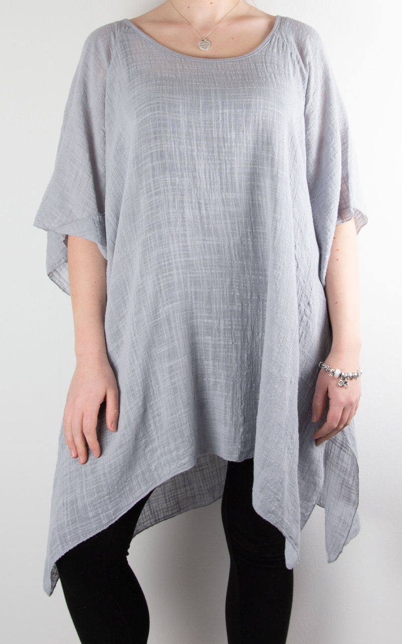 Mel Cheesecloth Fan Sleeve T | Light Grey