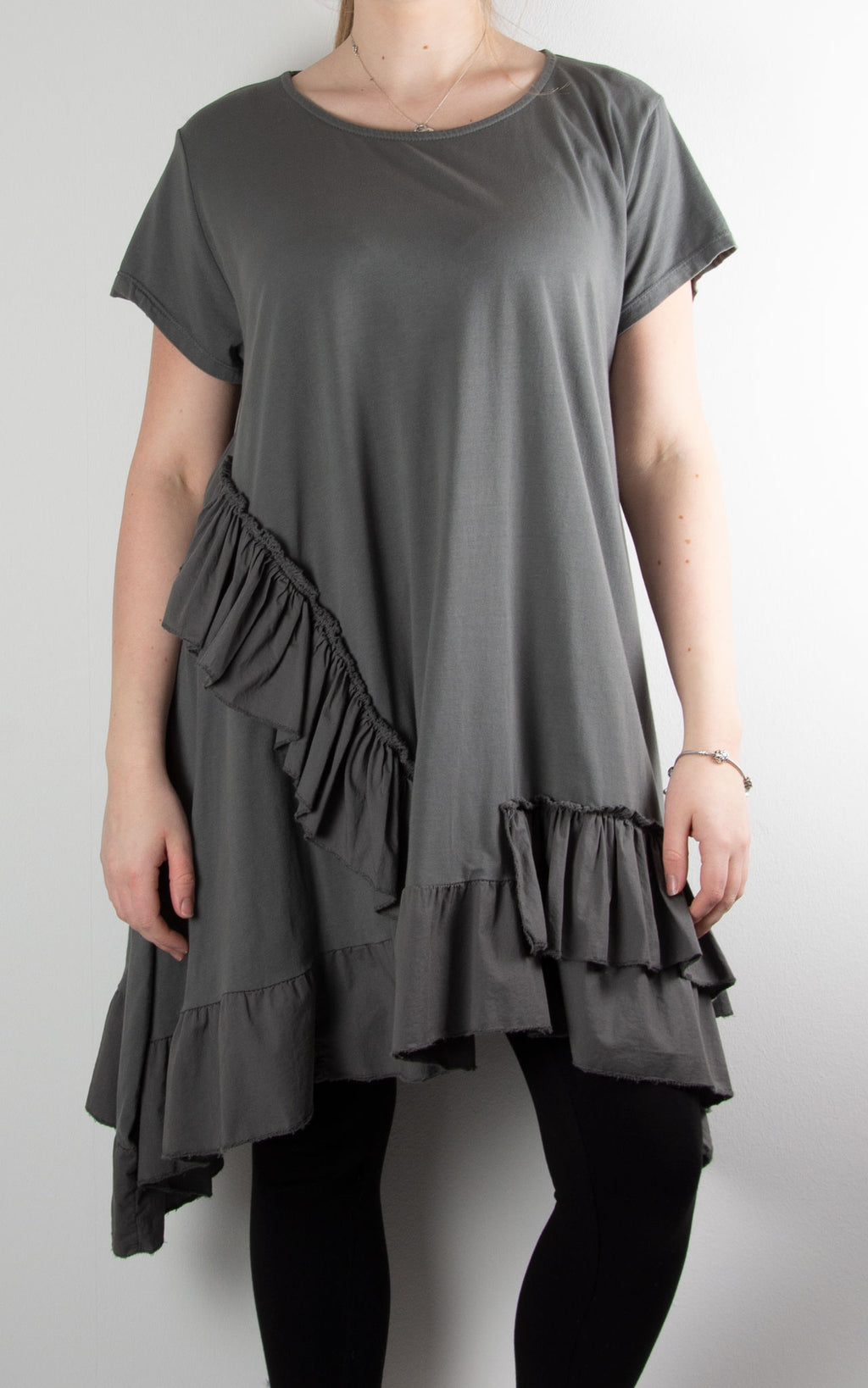 Lottie Frill Tunic | Charcoal