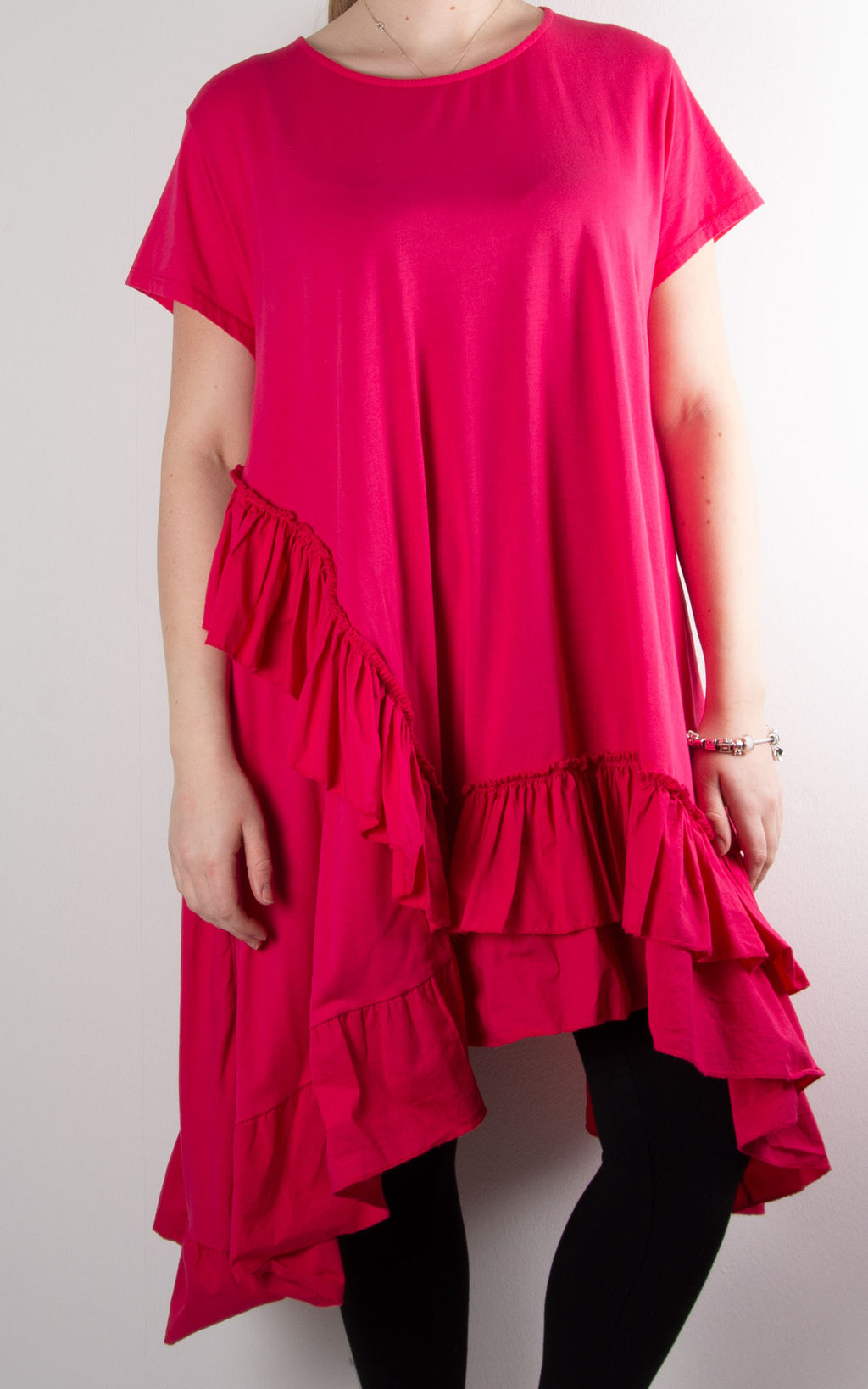 Lottie Frill Tunic | Hot Pink