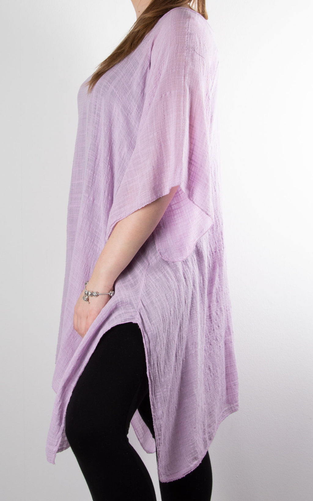 Mel Cheesecloth Fan Sleeve T | Lilac