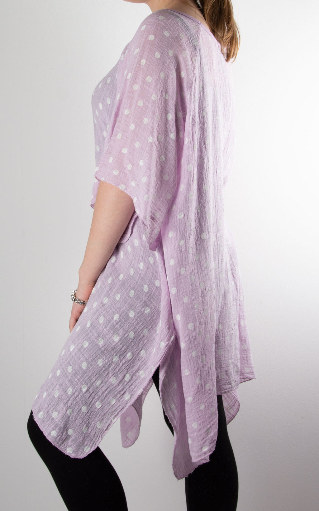 Mel Cheesecloth Fan Sleeve T | Spot | Lilac