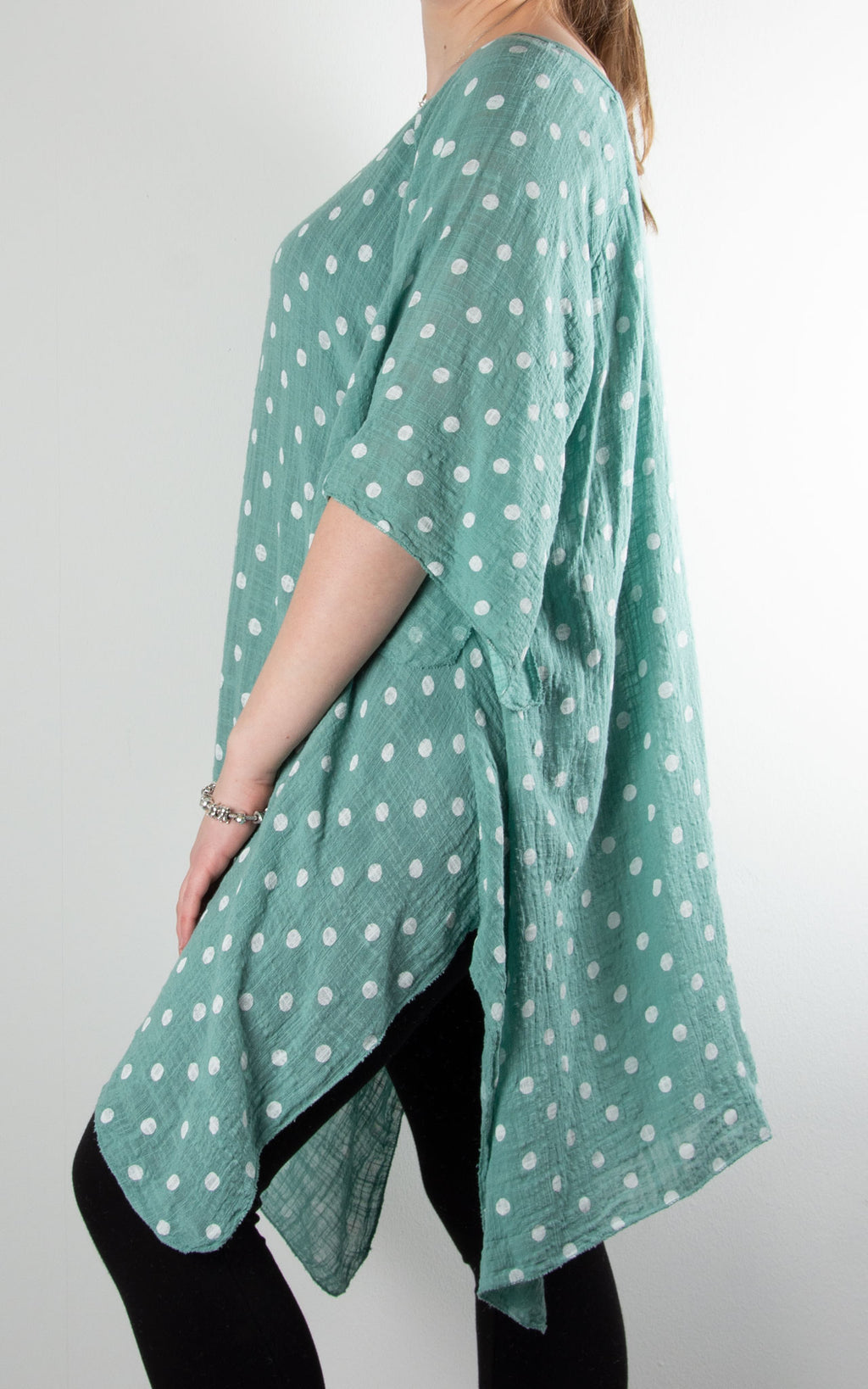 Mel Cheesecloth Fan Sleeve T | Spot | Sea Green