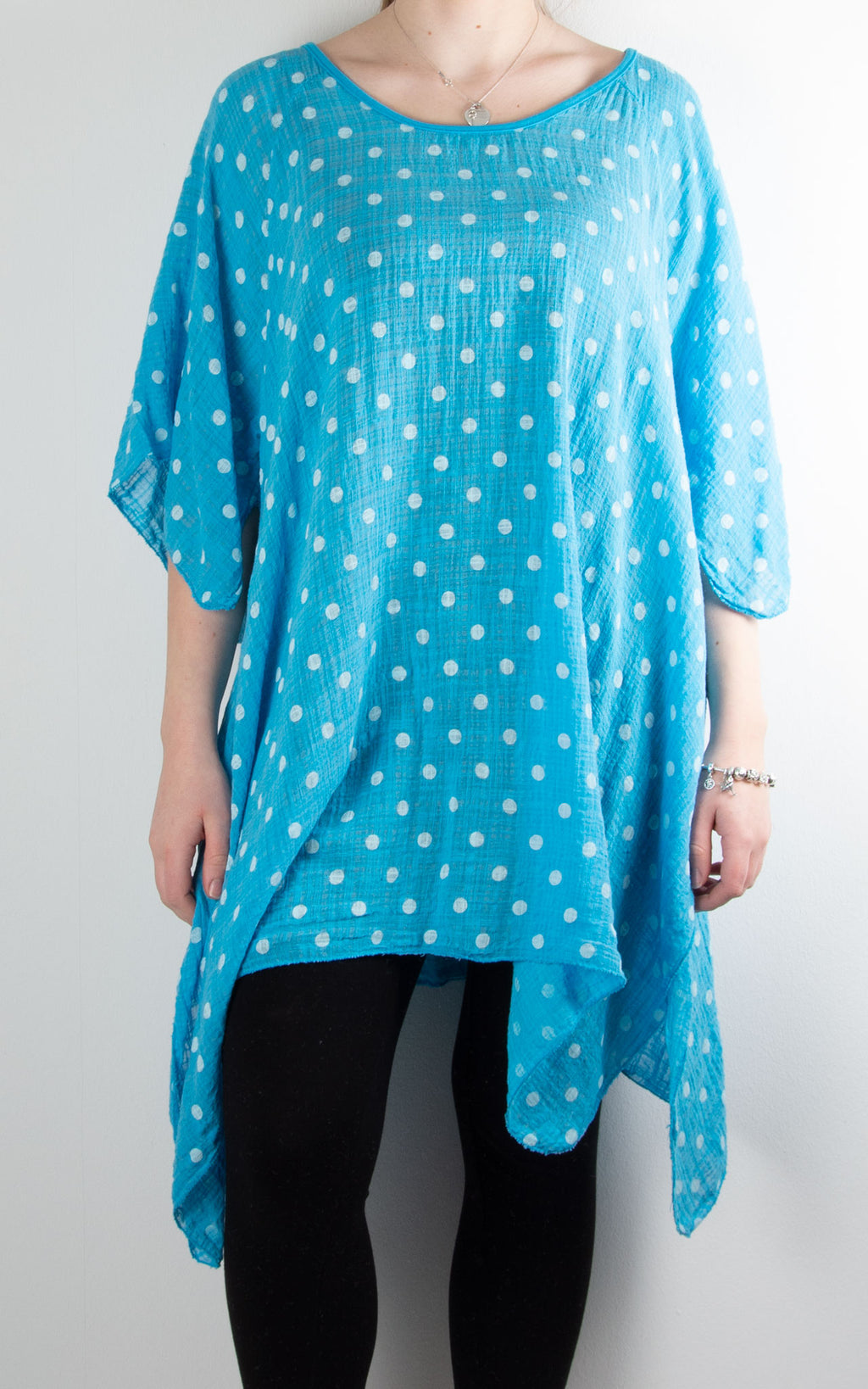 Mel Cheesecloth Fan Sleeve T | Spot | Aqua