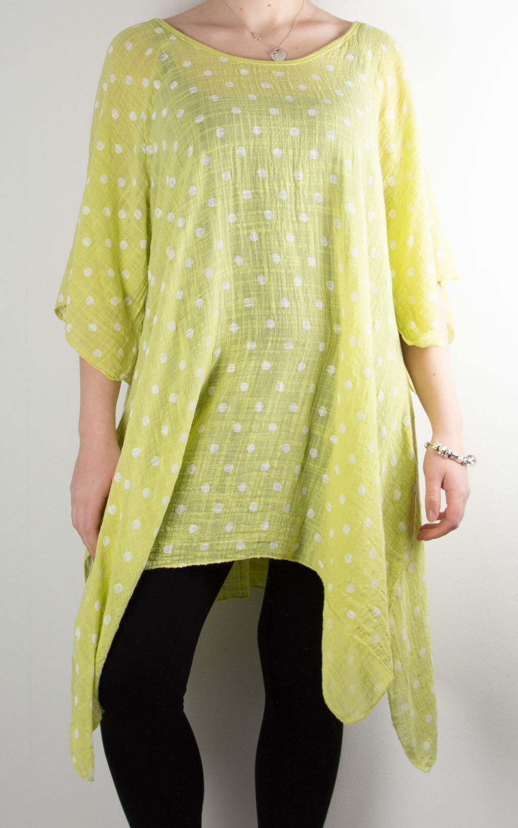 Mel Cheesecloth Fan Sleeve T | Spot | Lime