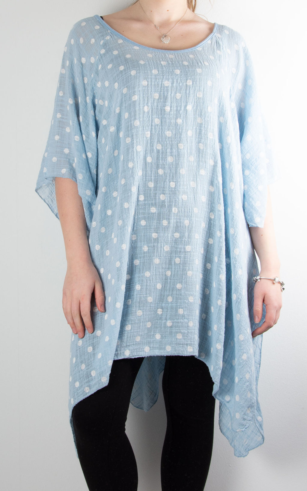 Mel Cheesecloth Fan Sleeve T | Spot | Sky Blue