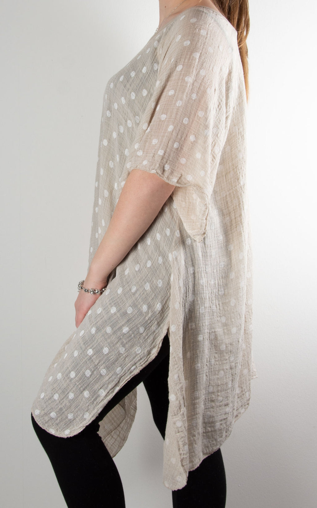 Mel Cheesecloth Fan Sleeve T | Spot | Beige