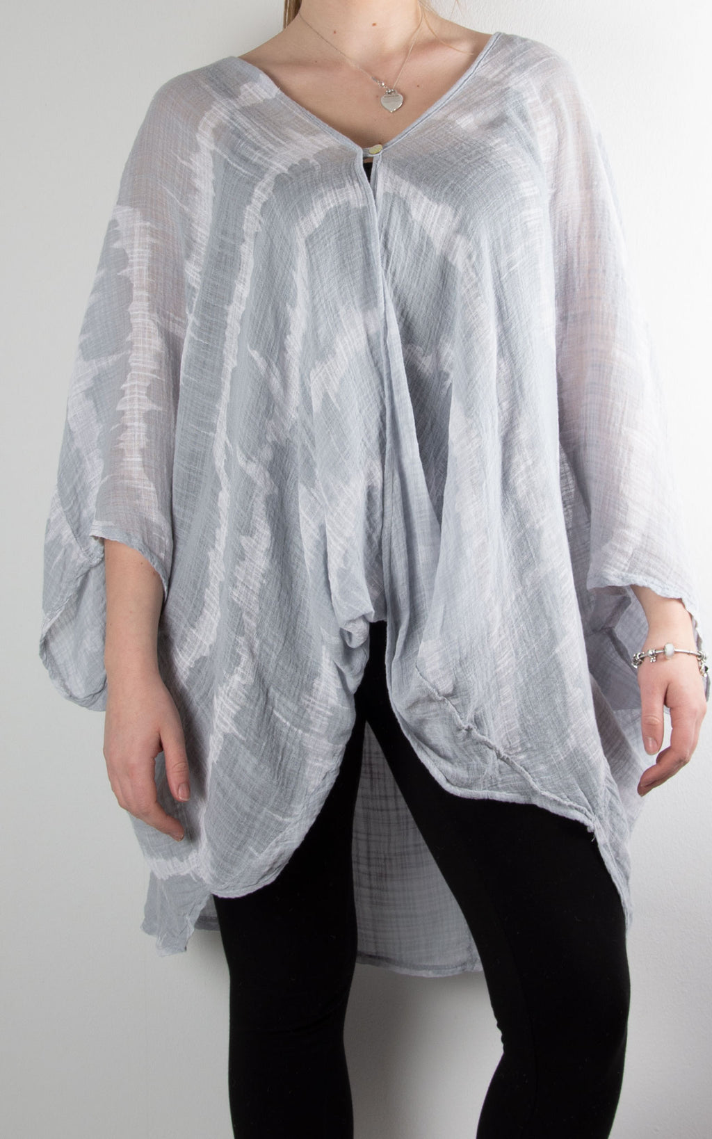 One Button Top | Tie Dye | Light Grey