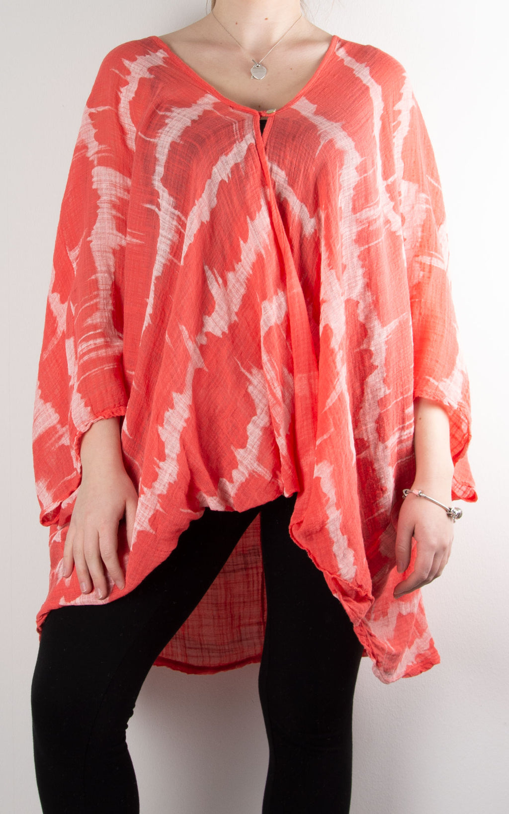 One Button Top | Tie Dye | Coral