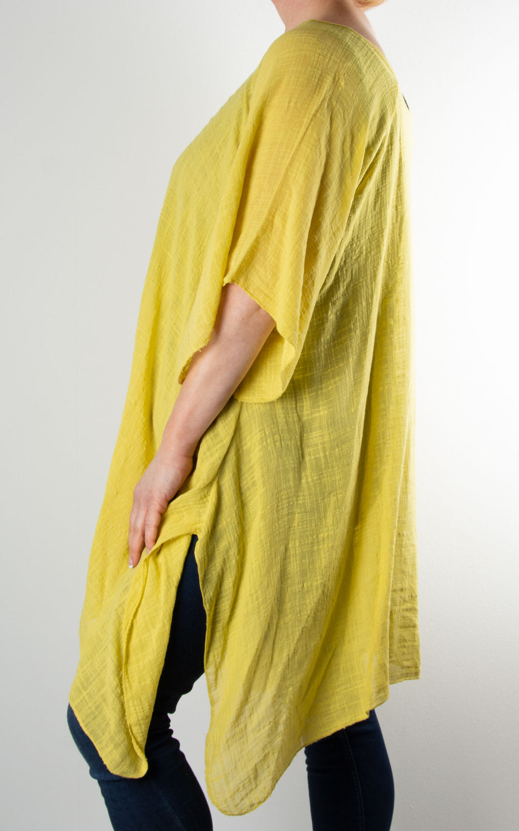 Mel Cheesecloth Fan Sleeve T | Yellow
