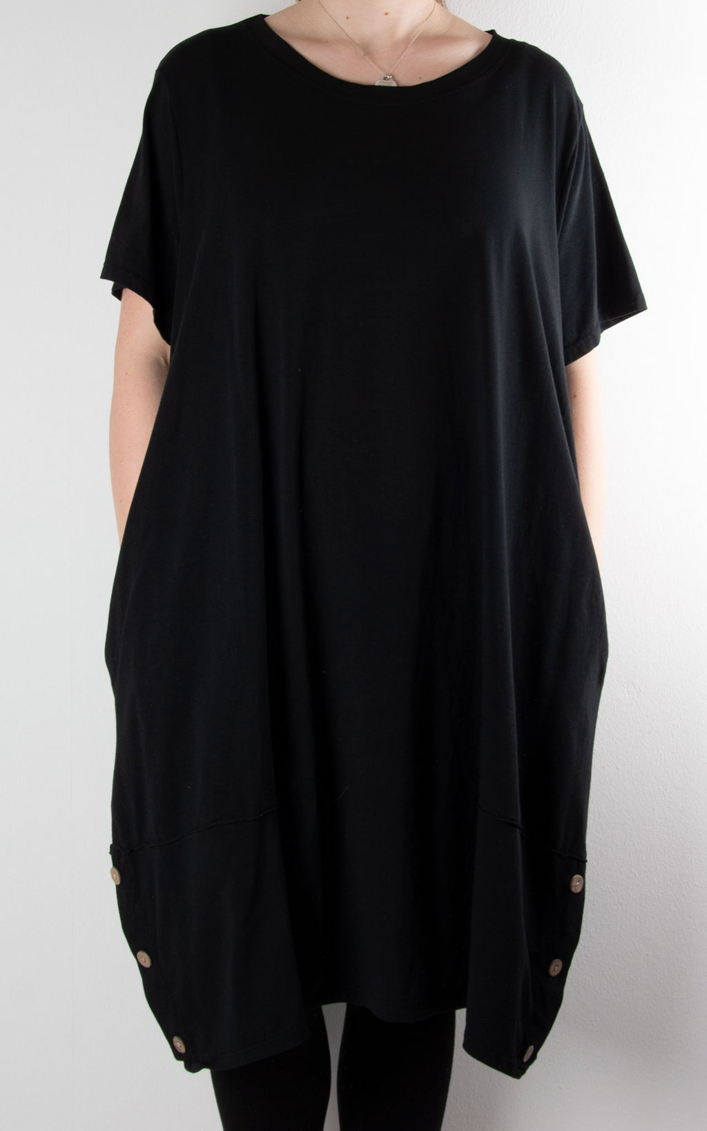 Hilary Button  Tunic T | Black