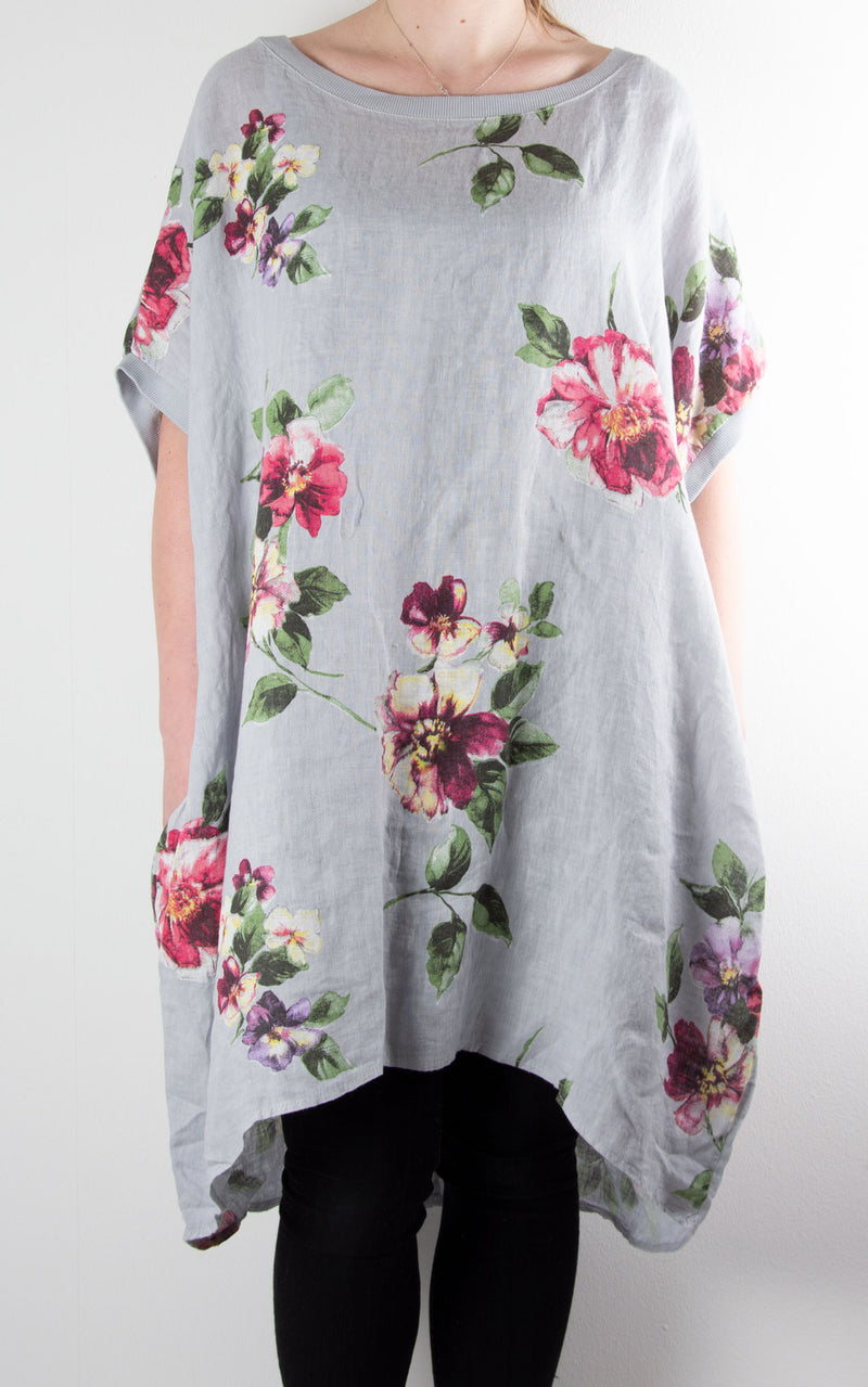 Maggie Floral Tunic | Light Grey