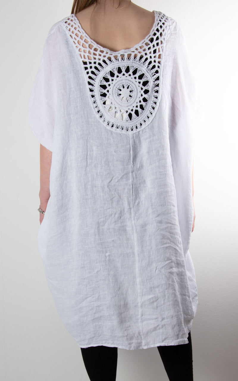Sahara Crochet Back Tunic | White