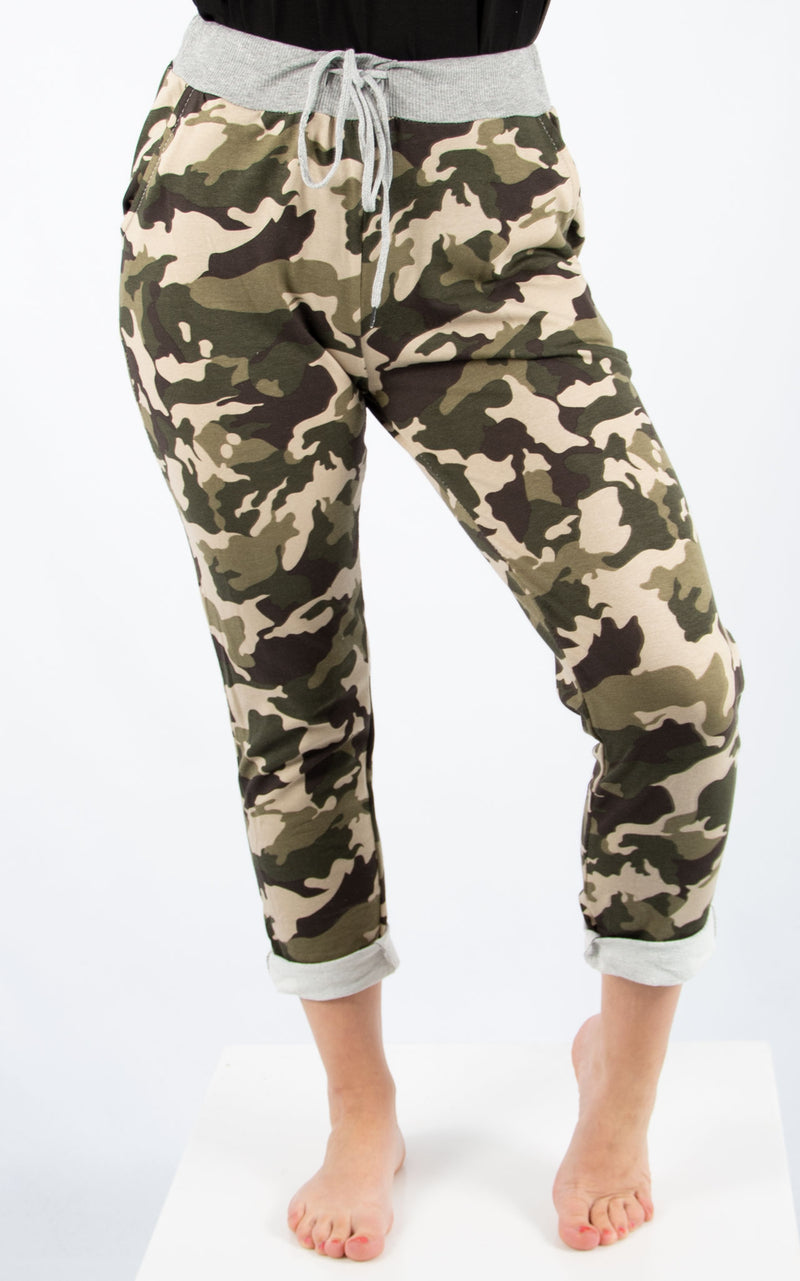 Khaki Camo Basic Jogger | Made In Italy