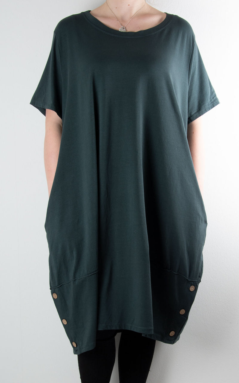 Hilary Button Tunic T | Charcoal