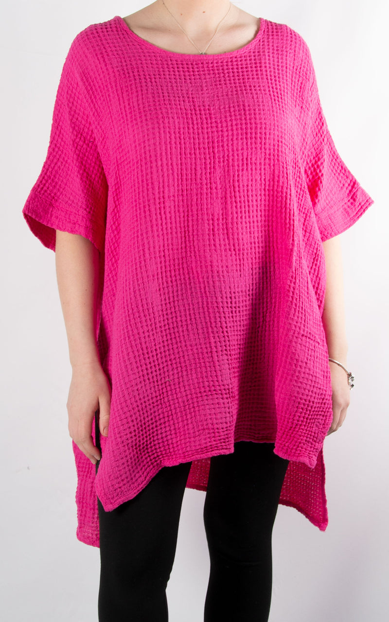 Ivy Waffle Split Top | Hot Pink