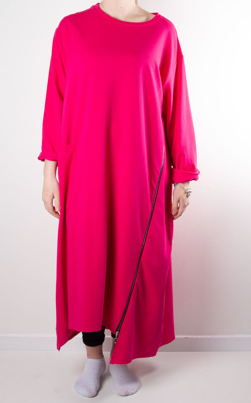 Darcy Zip Tunic Dress | Hot Pink