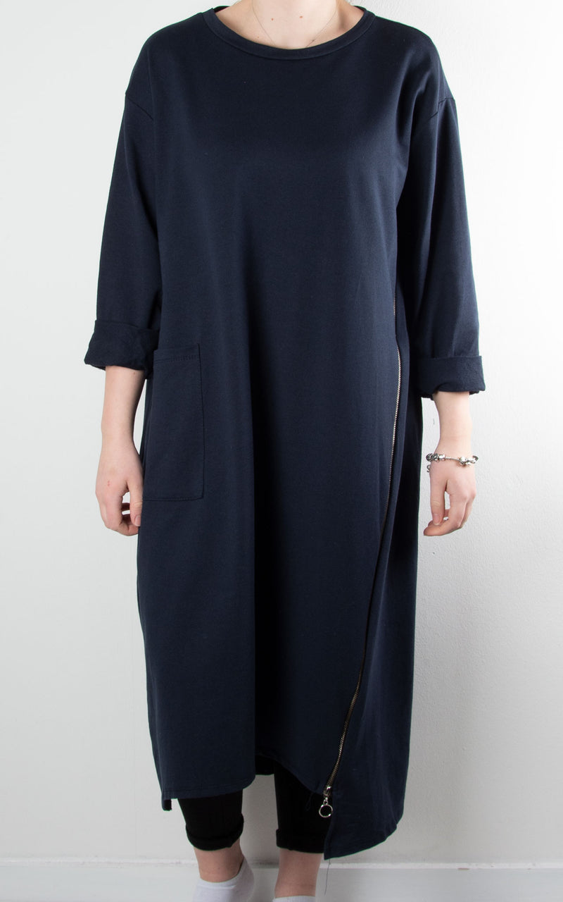 Darcy Zip Tunic Dress | Navy